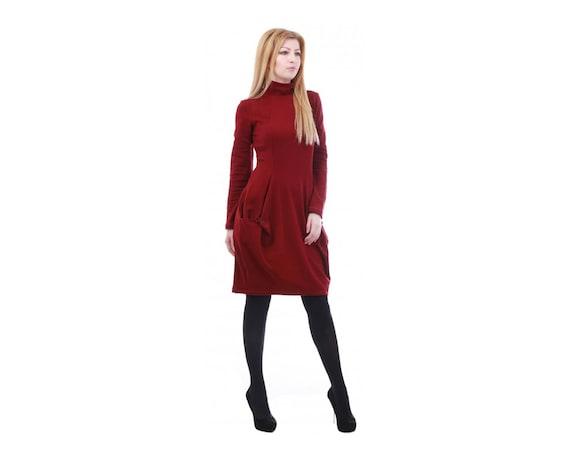 Bordeaux Dress, Polo Dress, Plus Size Maxi Dress, Oversize Dress, 5XL, 4XL,  Midi Dress, Flaved Dress, Baggy Dress, Knee Length Dress