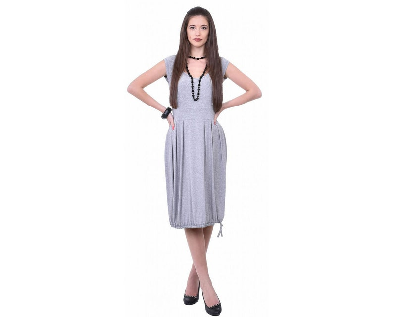 Sleeveless Dress Balloon Dress Loose Fit Dress Boho Dress Gray Dress Jersey Summer Dress Plus Size Maxi Dress Knee Length Dress