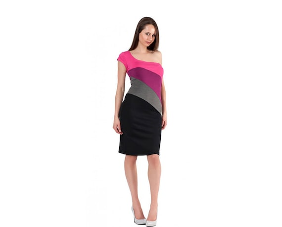 27159f24ec Short Dress One Shoulder Dress Multicolored Dress Mini