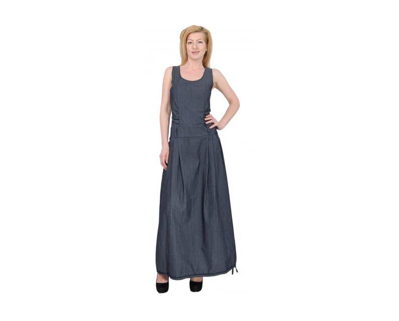 sale retailer a8eef baa7f Vestito lungo Denim, Denim Oversize blu Jean lungo abito, Midi Denim Dress,  vestito Denim Flaved, Plus Size Denim, Denim Maxi Dress,