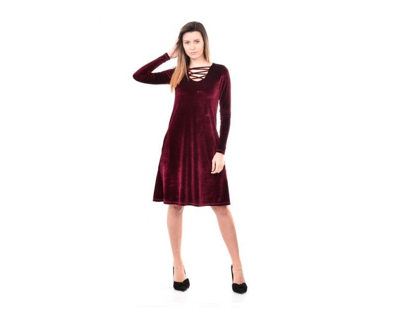 0f9a7d4a4898 Bordeaux Velvet Dress Midi Velvet Dress Plus Size Velvet