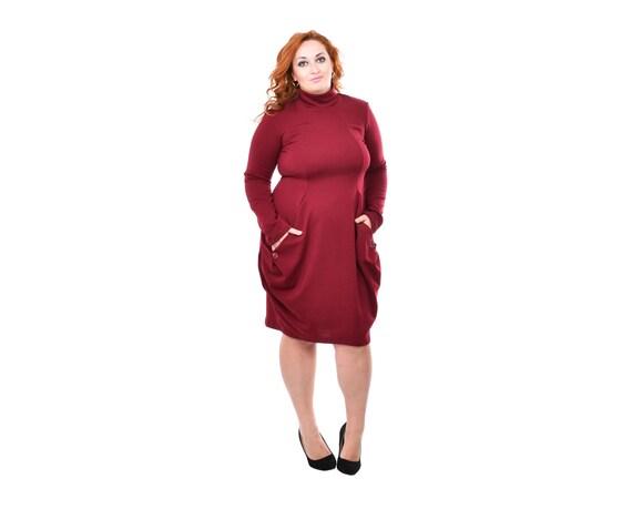 Bordeaux Dress, Polo Dress, Plus Size Maxi Dress, Oversize Dress, 5XL, 4XL,  Midi Dress, Flared Dress, Baggy Dress, Knee Length Dress