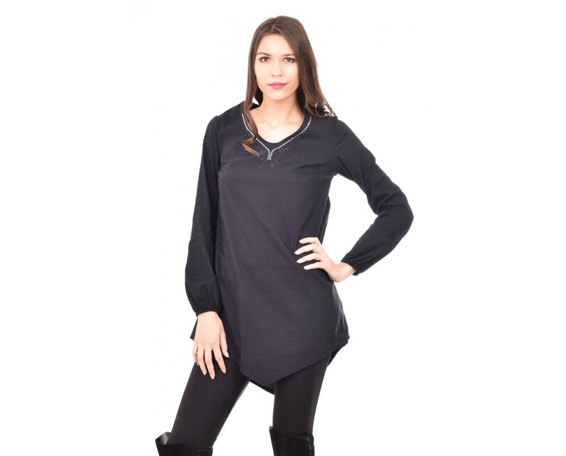 Plus Size Tunic Top Women Tunic Blouse Maxi Women Tunic Long Women Blouse Oversize Tunic Top Blue Tunic Top Long Sleeve Tunic