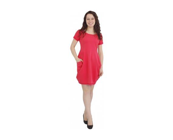 Red Loose Dress, Red Bogo Dress, Plus Size Dress, Maxi Dress, Balloon Type  Dress, Short Sleeve Dress, Red Short Dress, Women Dress