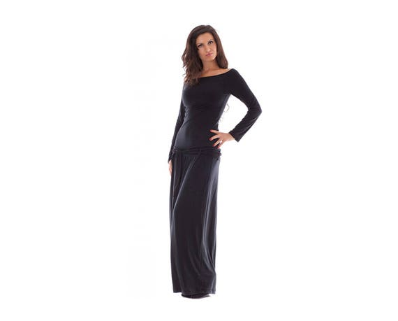 Long Black Dress, Plus Size Maxi Dress, Oversize Dress, Long Sleeve Dress,  Midi Dress, Caftan Dress, Flaved Dress, Unique Black Dress