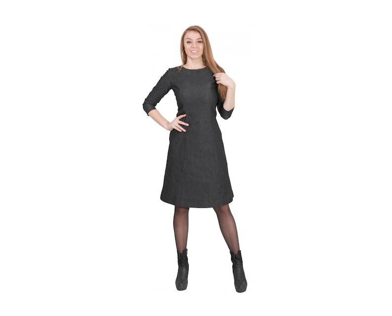 Denim Dress, Blue Jean Dress, Plus Size Denim, Maxi Denim, Oversize Denim,  Knee Length Dress, 3/4 Sleeve Dress, Flaved Dress, Formal Dress
