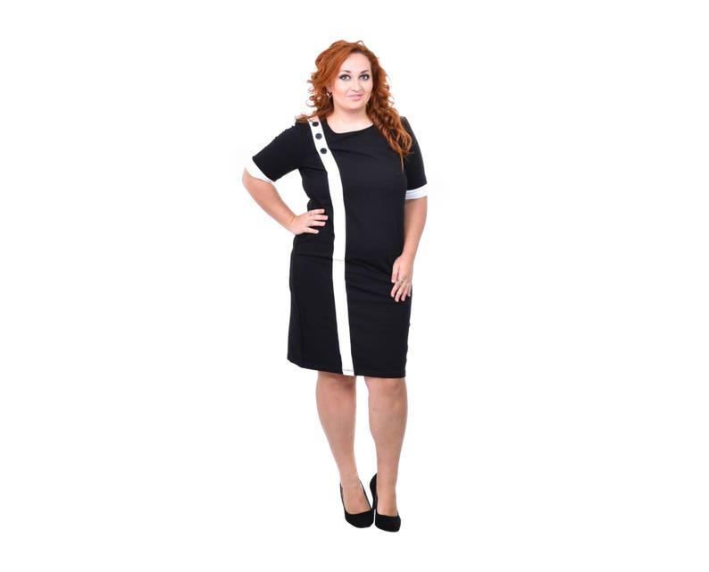 Fitted Dress Maxi Dress Plus Size Dress Short Sleeves Dress Bodycon Dress Knee Dress Oversize Dress Black and White Dress Slim Dress