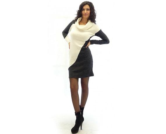 Knitted Polo Dress, Short Dress, Plus Size Dress, Maxi Size Dress, Women  Dress, White and Gray Dress, Boho Dress, Winter Dress, Unique Dress