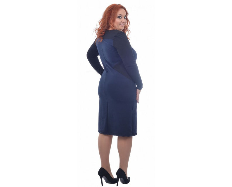 5XL Maxi Dress Knee Length Dress Tight Dress Plus Size Dress Bodycon Dress Blue and Black Dress 4XL Pencil Dress Oversize Dress