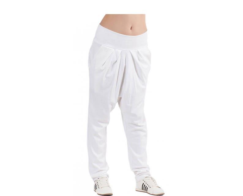 77ab29e1f3d46 Drop Crotch Pants White Women Pants Harem Pants Wide Leg