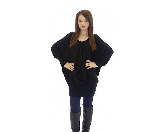 17e5752f098 Bat Sleeve Tunic Dress Knitted Tunic Dress Loose Caftan