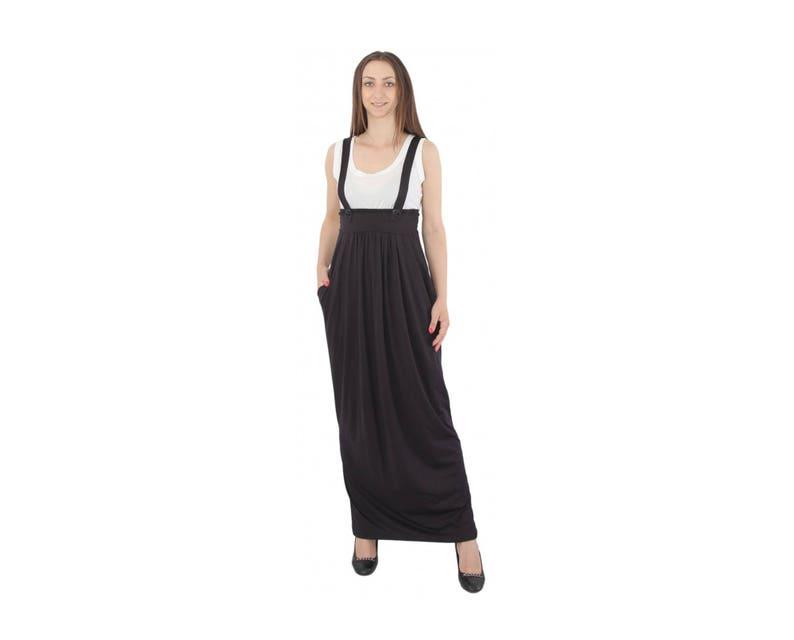 03c88e8992f Black Overall Dress Black Pinafore Maxi Overall Dress Maxi