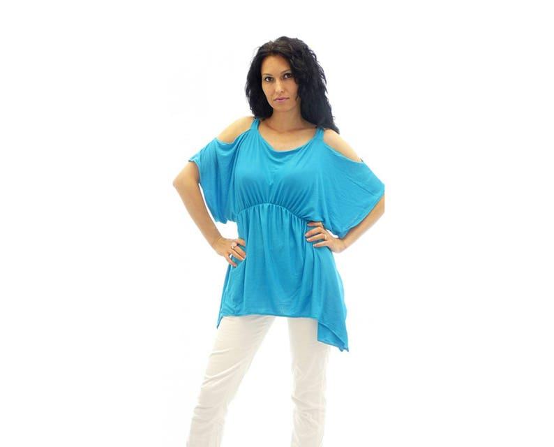 Wide Sleeves Tunic Caftan Tunic Dress Flaved Tunic Women Tunic Top Water Blue Tunic Top Oversize Bat Sleeve Plus Size Maxi Raglan