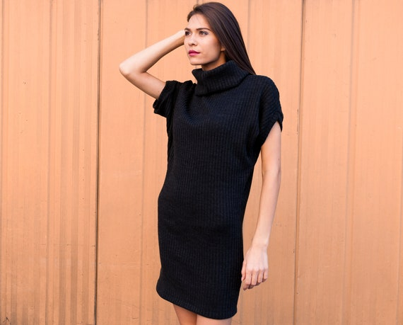 Knitted Polo Dress Knitted Black Dress Plus Size Dress Maxi Etsy