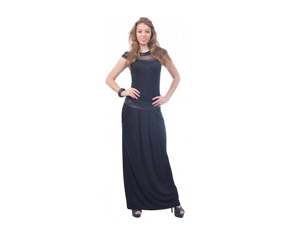 Black Dress, Plus Size Dress, Maxi Size Dress, Leather Dress, Long Dress,  Loose Dress, Fit Dress, Sleeveless Dress, Hand Made Dress