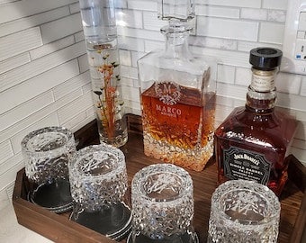 Personalized Whiskey Decanter Set with Gift Box Option Father's Day Wedding Gift Retirement Housewarming Bourbon Scotch Dad Gifts For Him