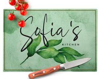 Christmas Family Gift Personalized Glass Cutting Board Kitchen Cutting Board Red /& Green Xmas Holiday Gift Tempered Glass Cutting Board