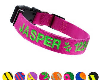 Personalized Dog Collar Embroidered with Pet Name and Phone Number, Personalized Embroidered Pet Collar, Personalized Dog Collar, Pet Collar