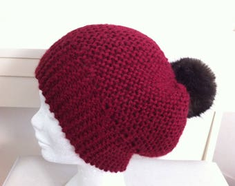 Wool Hat Burgundy Alpaca with faux fur Pom Pom
