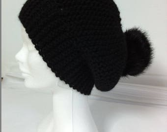 Wool Hat Black Alpaca with faux fur Pom Pom