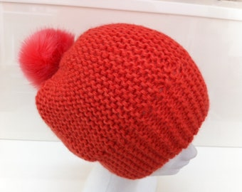 Wool Hat with faux fur Pom Pom coral Alpaca