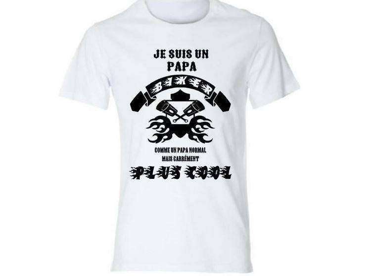 tee shirt blanc homme papa biker motard t shirt id e etsy. Black Bedroom Furniture Sets. Home Design Ideas