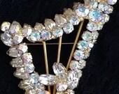 Vintage Ab Juliana Rhinstone Harp figural Brooch