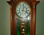 Vintage Floral Stained Glass Wall Westminster chime Clock