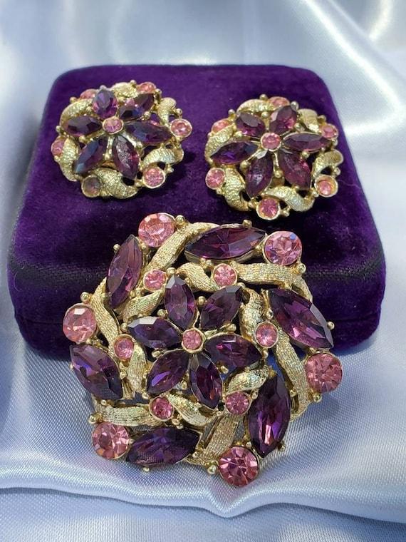 Vintage Purple, Pink Rhinestone Brooch and clip on