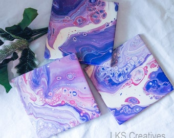Hand Painted Ceramic Drink Coasters, Purple, Pink, White, Blue