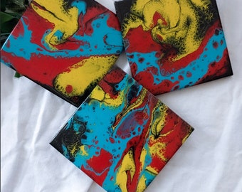 Hand Painted Ceramic Drink Coasters, Yellow, Red, Blue, Black