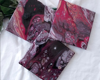 Hand Painted Ceramic Drink Coasters, Pink, Black, White, Metallic Gold