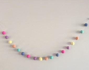 Nursery Garland / Felt Ball Garland / Rainbow Garland