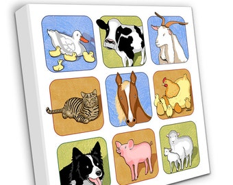 Farm Animals on Canvas