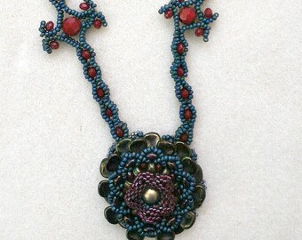 Beaded Flower Pendant Necklace