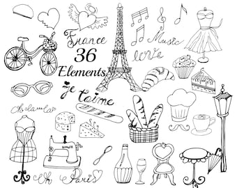 Paris Clipart FRANCE CLIPART Eiffel Tower Doodle France Wedding DIY Invitation Cafe Croissant