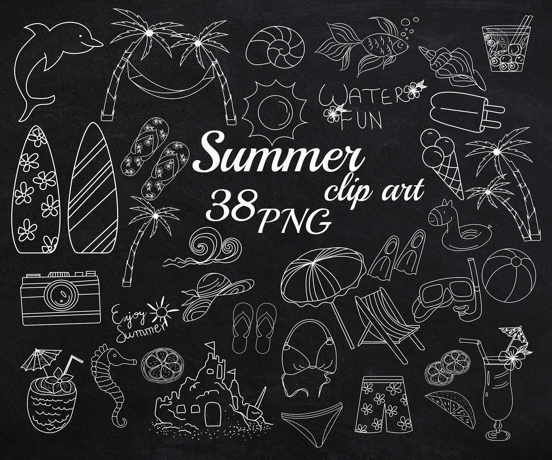 Tafel doodle Sommer Clipart: Sommer ClipArt Sommer