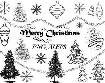 "Christmas Clip Art: ""CHRISTMAS CLIPART"" Christmas Tree,Christmas Ornaments Holiday Clipart,Christmas Vector,Snowflake clipart,Celebration"
