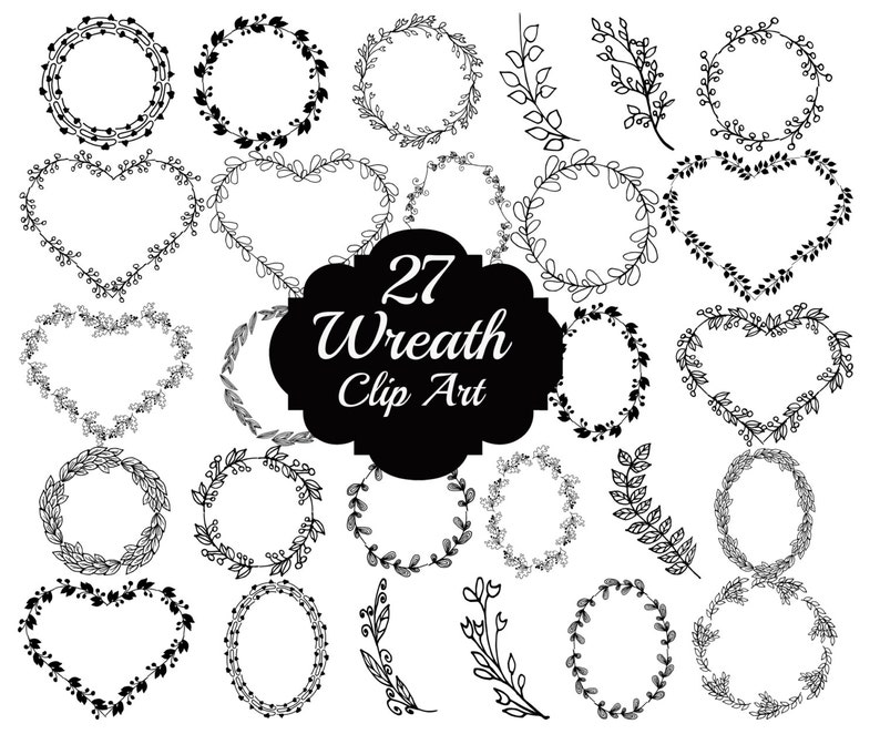 Doodle Wreaths Clipart Doodle Clip Art Wedding