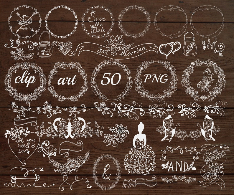 CHALK WREATHS Doodle clipart,Chalkboard Floral,White clipart,Rustic clipart,DIY wedding,Invitation clipart Chalkboard Wedding Clipart