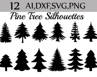 "Svg Pine Tree clipart: ""SILHOUETTES PINE TREE"" Christmas Tree Clipart, Pine Tree Svg,Forest clipart,Tree Silhouettes.Tree printables"