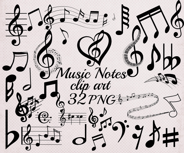 Music Notes Clipart Music Clip Art Black Music Etsy
