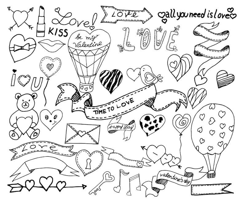 Doodle Corazón Clipart Clipart De San Valentín Etsy