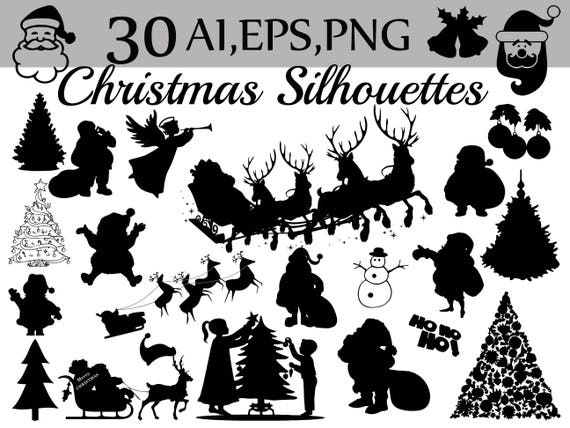 Christmas Silhouette.Christmas Silhouettes Clipart Christmas Clipart Santa Claus Holiday Clipart Christmas Vector Santa Silhouette Celebration Clipart