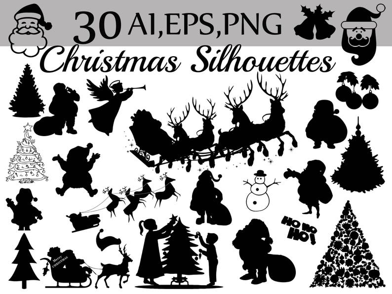 Weihnachten Clipart.Weihnachten Silhouetten Cliparts Weihnachten Clipart Santa Claus Cliparts Für Feiertage Weihnachten Vektor Santa Silhouette Feier Clipart
