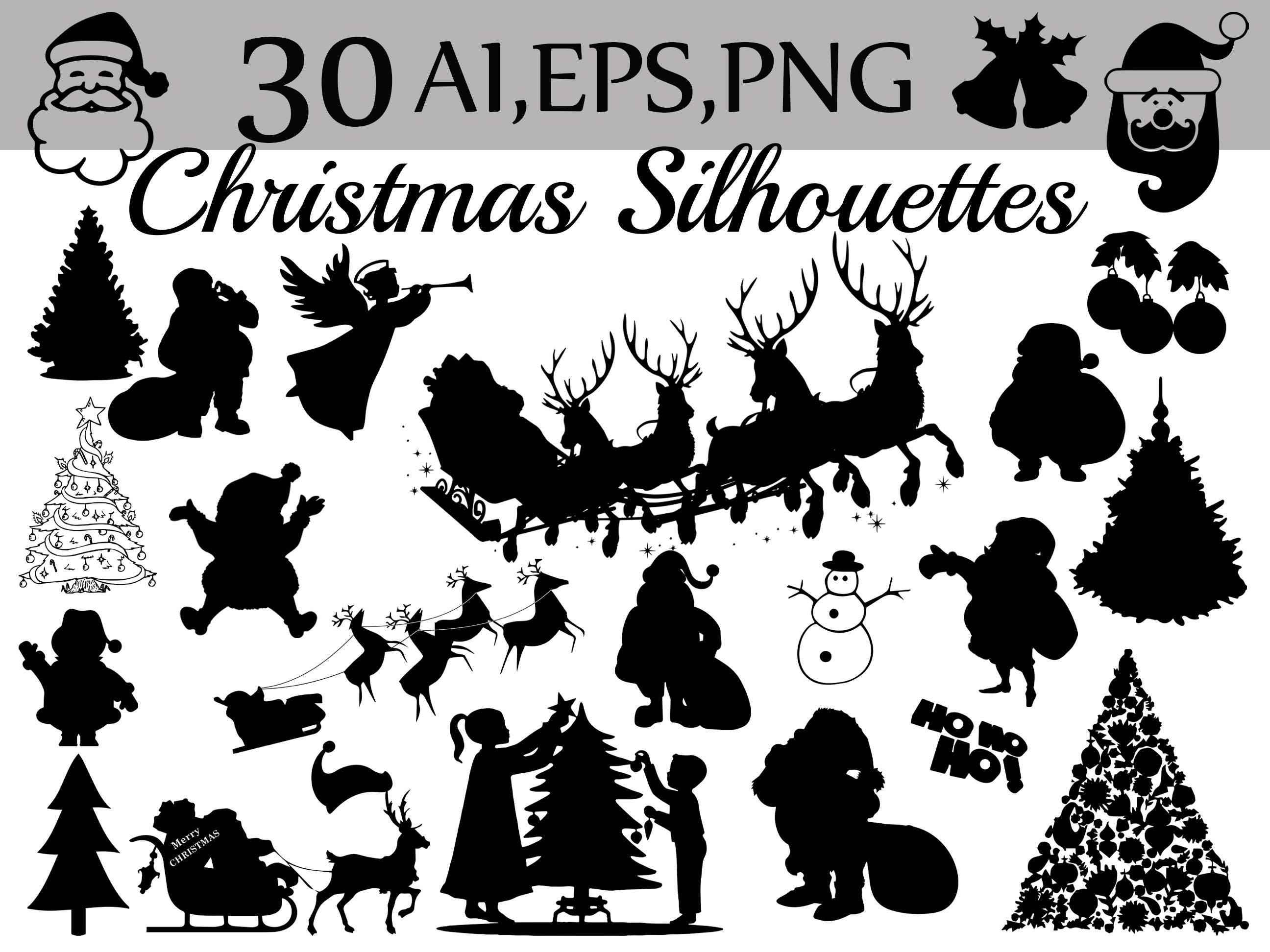 Weihnachten Silhouetten Cliparts: Weihnachten   Etsy