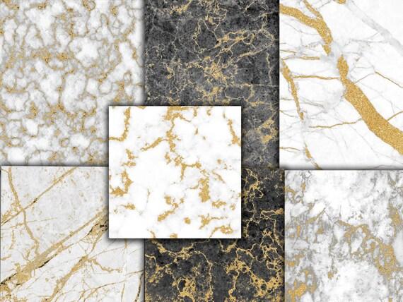 Papier Numérique Marbre Doré Marbre Textures Fonds De Marbre Or Marbre Scrapbook Numérique Le Marbre Glitter Marbre Marbre Noir Or