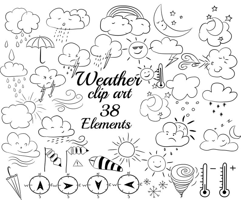 Weather Doodle Clipart Clouds Clipart Weather