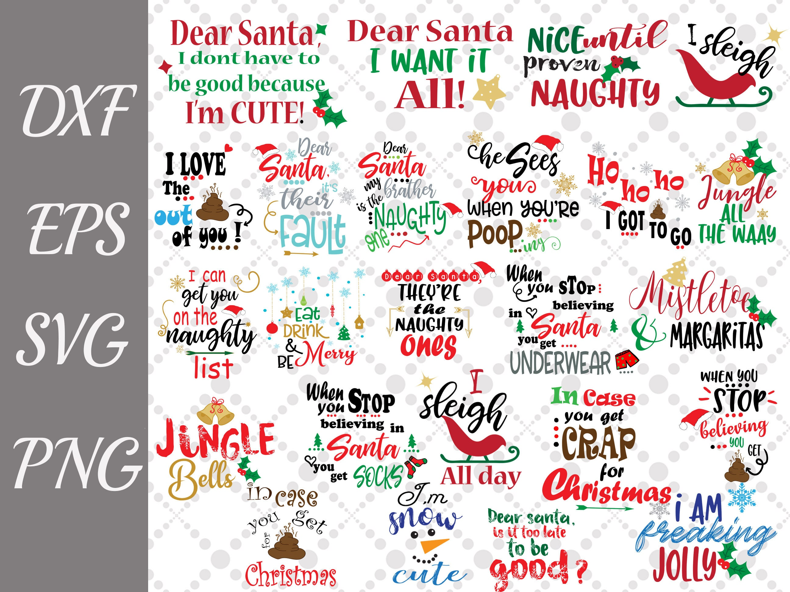 Bundle Christmas Quotes Svg Funny Christmas Svg Etsy