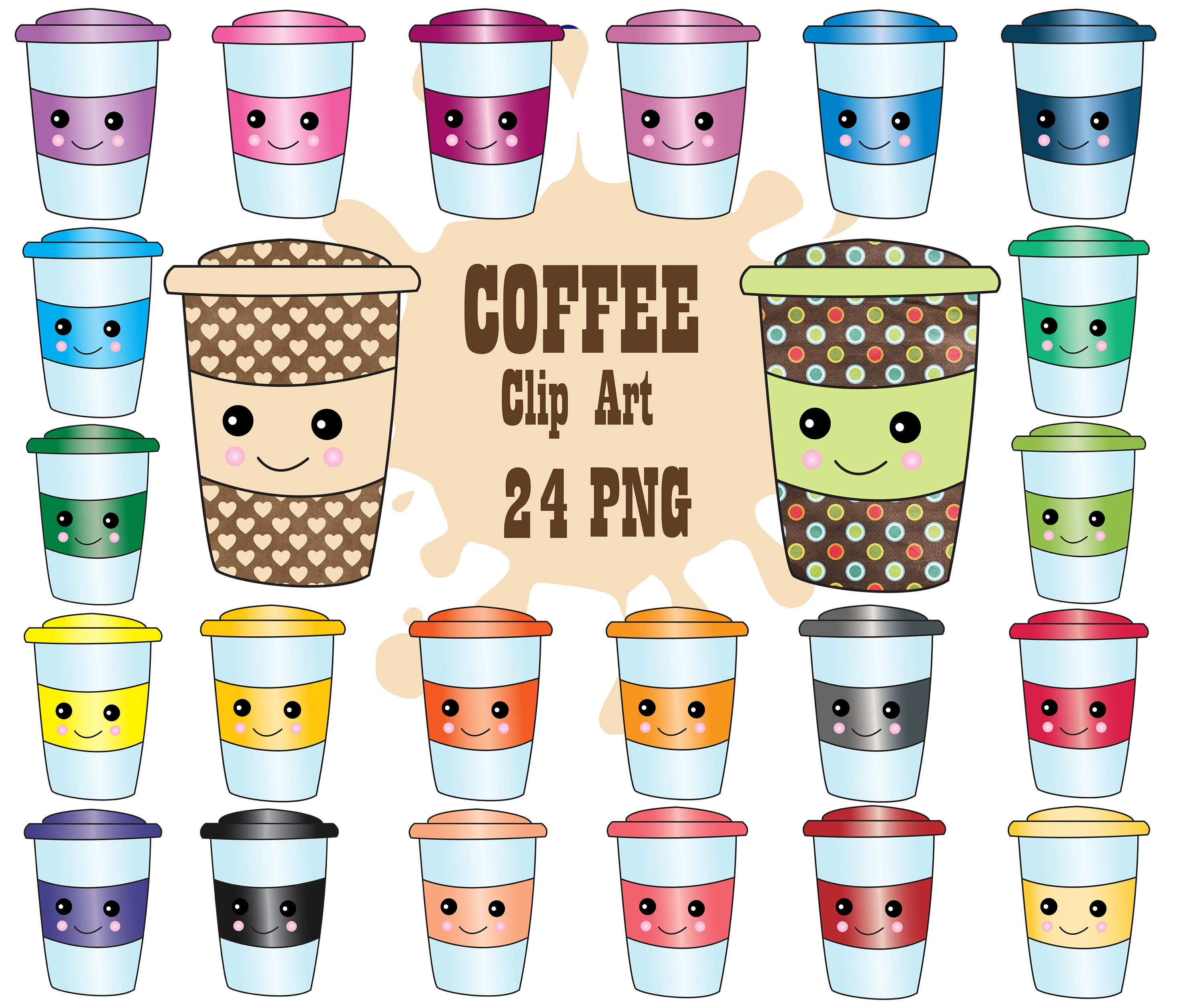 Kawaii Coffee Clipart: COFFEE CUPS CLIPART | Etsy